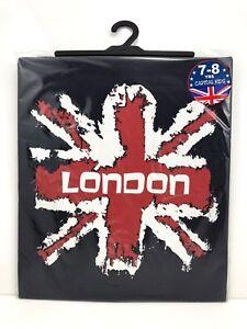 Kids Children's London England Union Jack 100% Cotton T-Shirt 1 -12 Years