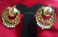 Indian Gold Oxidised Jhumka Jhumki Antique Gold Plated Red Pearl Stone Earrings