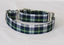 """1"""" Small (whippet) Martingale Dog Collar Green, Gray and Black Plaid"""