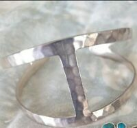 "Silpada Hammered Sterling Silver ""Modern Arch"" Cut Out Cuff Bracelet B3386"