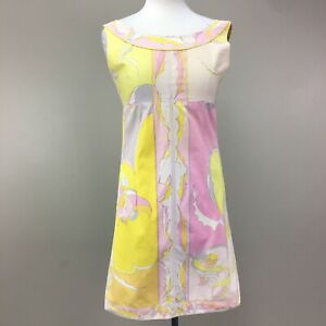 Womens VTG Emilio Pucci 60s Iconic Psychedelic Print Sleeveless Shift Dress Mod