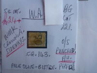 WEST AUSTRALIA SWAN O.S. STAMP S.G. 143 5d PALE OLIVE BISTRE F.U.