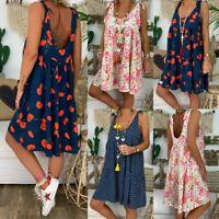 Women Plus Size Retro Boho Sleeveless Summer Beach Casual Top Shirt Mini Dress