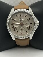 Fossil AM4628 Women's Brown Leather Analog Taupe Dial Quartz Genuine Watch OP539