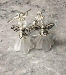 Handmade Christmas Angel Lucite Crystal Bead Earrings