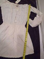 CLEOBELLA DESIGNER embroidered dress ivory bell sleeves off shoulder SZ S-NWT