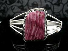Handmade Navajo PHILLIP YAZZIE Sterling & Rare Purple Spiny Oyster Cuff Bracelet