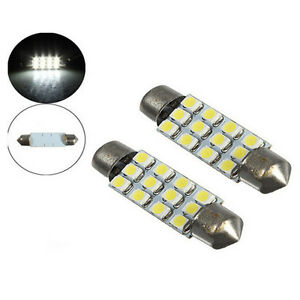 2x 42mm Car Dome 3528-SMD 12 LED Interior Bulb Festoon Lamp Reading White Light