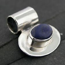 Genuine Lapis Lazuli Gemstone Polished Sterling Silver Pendant .925 boho, hippy