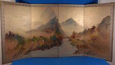 Vintage Japanese Original Painting on Silk 4 Panel Folding Screen Byobu