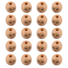 20pcs Wooden Round Painted Face & Eyebrows Loose Craft Beads 18mm 4mm Hole