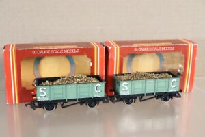 HORNBY R730 RAKE of 2 BR S C SC STEEL SIDED MINERAL WAGON 25506 & LOAD nv