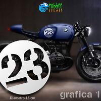 Numero adesivo serbatoio Cafe Racer Scrambler moto custom stickers autocollant