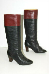 Boots vintage all Leather Bicolour Black Bordeaux Small Heels T 5/38 Be