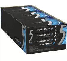 WRIGLEY'S 5 FIVE PEPPERMINT COBALT GUM 12/15 Pkgs 180 Pcs Total Sugarfree  FRESH