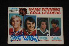GUY LaFLEUR & BILL BARBER 1978-79 TOPPS LEADERS SIGNED AUTOGRAPHED CARD #69