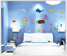 Asmi Collection Pvc Wall Stickers Octopus Fish In Sea for Kids Room