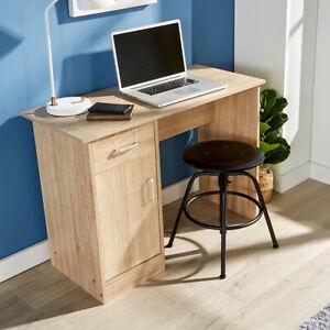 Oak Desk 1 Drawer 1 Door Compact Computer Workstation Home Office Table Tyler