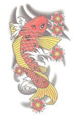 KOI FISH CHINESE ORANGE AND YELLOW Temporary Tattoo