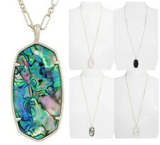 NEW KENDRA SCOTT Gold Faceted Reid long Pendant Necklace Abalone Pink Pearl +