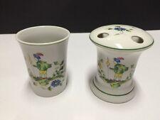 2 Piece Mann 1976 Toothbrush Holder Porcelain Tumbler Cup Mug Green Trim