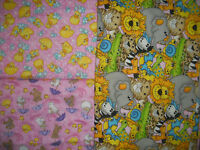 3 3/4 YDS Hoffman LullaBabies FLANNEL QUILT FABRIC SET in Pink/AQUA