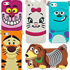 Cute 3D Cartoon Silicone Rubber Back Case Cover For Various Apple iPhone Models