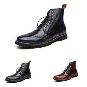 New Mens Brogue Work Ankle Boots Shoes Wing Tip Carved Business Carved Party L