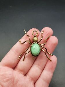 Vintage Antique 1930s Mint Green Peking Glass? Spider Insect Brooch