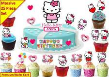 HELLO KITTY cat Scene Cup Cake Scene Toppers Wafer Fairy Edible STAND UP CUSTOM