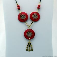 Maasai Market African Jewelry Masai Copper Wire Wood Bead Necklace Red 126-27