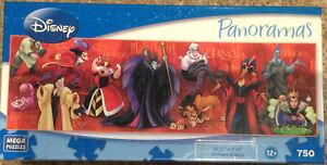 "Disney Panoramas Villains 750 piece Jigsaw Puzzle 11""x36"" Factory Sealed NEW"