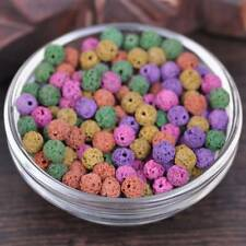 50pcs 6mm Random Mixed Lava Stone Round Loose Spacer Beads DIY Jewelry Findings