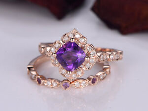2Ct Cushion Purple Amethyst Syn Diamond Engagement Ring Set Rose Gold Fns Silver