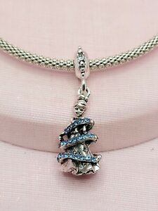 Silver Blue Cz Disney's Cinderella Magic Ballgown Charm for European Bracelets