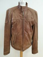 I909 MENS BISON BROWN LEATHER CASUAL BOMBER STYLE JACKET UK XLARGE XL EU 56