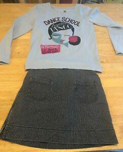 Tea Collection Girls Shirt Skirt Sz M 6-7 Gray Cotton Long Slv Dance Tango