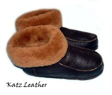 NEW! Men's Brown Soft Sheepskin Lambskin Fur Slippers Real KATZ Leather Warm