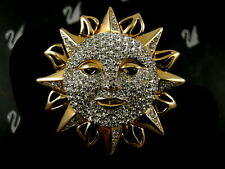 Signed Swarovski Pave' Sun ~ Moon Face Star Pin ~Brooch Retired New In Box