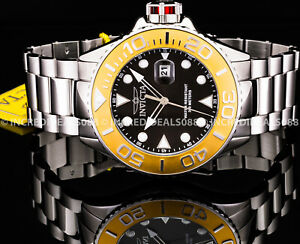 Invicta Men GRAND PRO DIVER 18K Gold Bezel Black Dial Silver Bracelet 48mm Watch