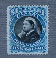 *Kengo* Canada revenue stamp Van Dam #FB52 Bill Stamp $1 used CV$150 B.O.B @209