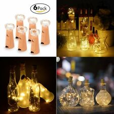 6X DIY Copper Cork Wire String Lights 20 LEDs Strip Fairy Light Battery Powered