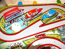 VINTAGE OLD TIN TOY STATION CITY MECHANICAL CARS BUS WIND-UP  /w orig box