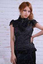 RQ-BL Frilly Gothic Lolita Blouse black satin & lace 21061B