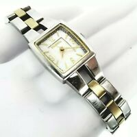 FOSSIL Ladies Quartz ES2070 Silver Gold Mother of Pearl Face Cocktail watch