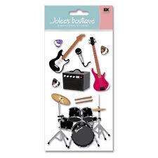 Band Music Guitar Drums Bass Microphone Rock N Roll Concert Jolee's 3D Stickers