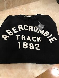 Abercrombie A&F mens Medium Blue Logo Muscle-Fit Crew Neck Sweatshirt NWT