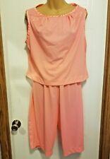 Gossamer Artemis Vintage Nylon Pajamas Matching Slippers Coral Pink Salmon Saucy
