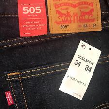 New Authentic Original Genuine LEVI'S 505 JEANS Men's Indigo Rinse NWT 34 - 34