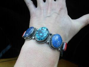 Huge heavy silver Turquoise lapis coral ethnic Indian Tibetan bracelet bangle